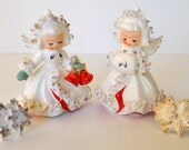 Vintage Holt Howard Christmas Angel Ermine Candleholders w/ Candle Decorations 1958