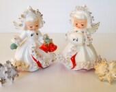 Vintage Holt Howard Christmas Angel Ermine Candleholders w/ Candle Decorations 1958