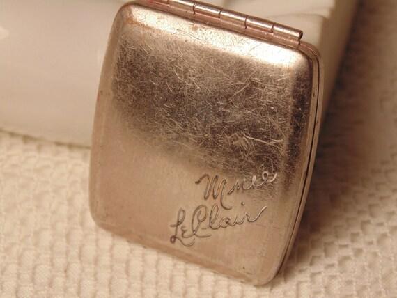 Vintage Compact Silver Compact Makeup Case Antique Compact