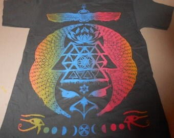 T-Shirt - Ascending Visions (Rainbow on Charcoal)