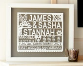 Personalized 1st Paper Wedding Anniversary Papercut Gift, anniversary gift, gift for married couple, paper anniversary, first anniversary