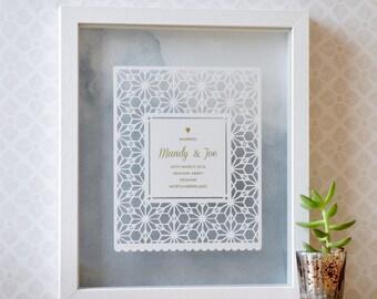 Personalized Wedding Gift Papercut Art, wedding shower, personalised gift wedding, gift for bride and groom, wedding gift for couple