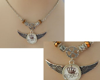 Silver Steampunk Queen Wings & Gear Pendant Necklace Handmade NEW Adjustable Chain Accessories