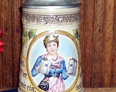 Vintage Old Germany Pewter Lid Beer Drinking Stein, Waitress carrying Stein,  Waitress image in relief, West Germany, Bar Accessories