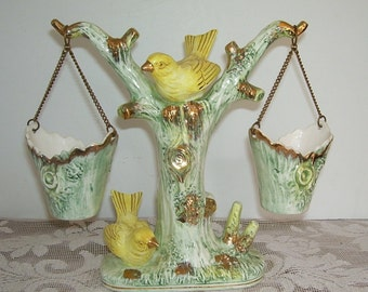 Ucagco Yellow Canary on A Tree Branch with Hanging Baskets,  Ucagco Ceramics Japan, Home Decor, Garden Bird Sanctuary, Cottage Decor