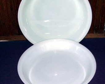 2 Pyrex Milk Glass 9 Inch Pie Plates,  9 7/8  x 1 1/2 inches, Kitchen, Corning New York,   For Oven and Microwave, Home Baked Pies