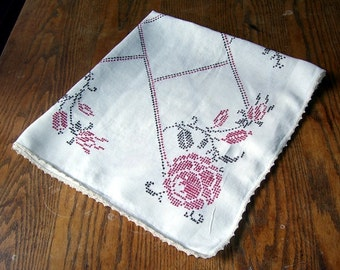 Vintage Red Rose Cross Stitch Square Linen Table Cloth, Deep Ruby Red Roses, Rustic Country, Vintage Textiles, Retro Kitchen, Cottage Side