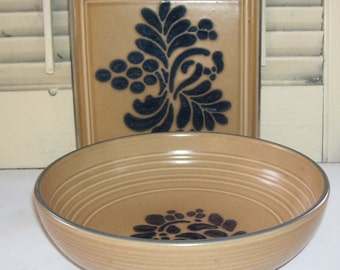 Vintage Pfaltzgraff Folk Art Salad Bowl and Trivet, Pottery Art, Brown and Blue Folkart, Kitchen Serving, Retro Kitchen, Cottage Decor,