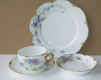 Haviland and Co. 4 Piece Porcelain Luncheon Set, 1 Dessert Plate, 1 cup, 1 saucer, 1 small bowl, Forget Me Not Flowers