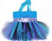 Purple Snowflake Ribbon Tutu Tote Bag With FREE Monogram Name Embroidered on it, Little Girl's Tutu Bag, Princess Style, Easter Basket Bag