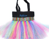 Chevron Ribbon Tutu Tote Bag With FREE Monogram Name Embroidered on it, Little Girl's Tutu Bag, Dance Bag, Princess Style, Easter Basket Bag
