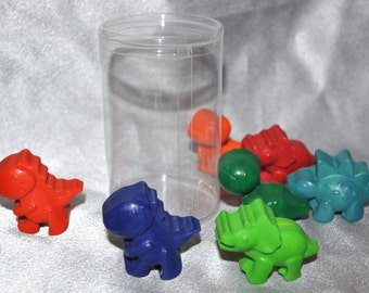 Dinosaur Crayons, Dinosaur Party Favors, Recycled Crayons Dinosaur Total of 7 Crayons That Come in a Round Container, Unique Party Favors