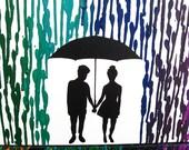 Melted Crayon Art, 16x20 Lesbian Art, Rainbow Wedding Gift, Lesbian Wedding Registry, Lesbian Silhouette Couple, Mrs and Mrs Lesbian Wedding