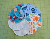 Medium Nursing Pads / Breast Pads, SET of 8 pads, Cloth, Washable, Reusable, Flannel, Breastfeeding Gift, Size Medium, M05