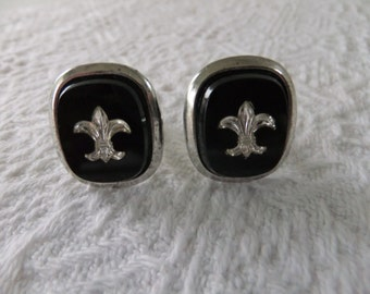 Vintage Fleur De Lis Mens Swivel Cufflinks Black Glass Silver Tone Retro Wedding Suits Formal