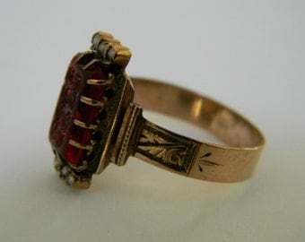 Antique Victorian Seed Pearl Ring, Bohemian Red Glass Seed Pearl Ring, Solid 14K Rose Gold Ring, Faux Garnet Ring, Gothic 1800s