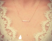 SALE - Tiny Gold Hand Stamped Bar Necklace - Simple - Minimalist - Dainty lovely Gift- Accessories Layering Necklace -The Lovely Raindrop