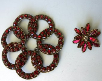 Sparkly Red Rhinestone Pin Upcycle