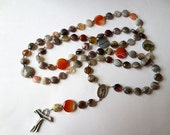 Franciscan Crown Rosary in Gray and Orange Botswana Agate with Saint Francis/ Saint Anthony Center and Tau Cross