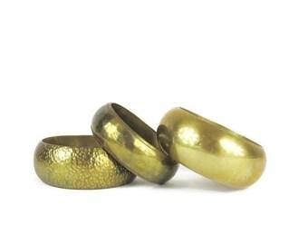 25% off SALE Vintage Bangles Set 1970s Bangles Brass Gold Bangles Engraved Metal Stacking Bangles Boho Hippie Bracelets Gold Tone Matching B