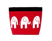 HEADREST Car CADDY Elephants Lipstick Red/ White, Car Litter Bag, Car Accessories, Toy Bag for Car