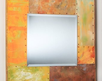 21 x 21 Painted Metal Border Mirror