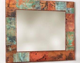 43 x 37 Rustic Copper Border Mirror