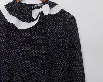 black and cream hailspot vintage 1980s dress with asymmetrical collar