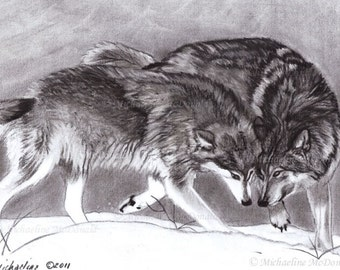 Loyalty Wolves - wolves, wolf art, wildlife art, wolf print, wolves in snow, wolf gifts, wolf card, wolf decor,