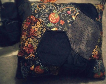 Gothic Halloween Scrappy Quilt Pillow - Rare Fabrics Pumpkins Black Roses / Gothic Halloween Bedding