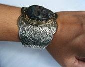 Ooak Huge Mens CUFF  Bracelet ABALONE SKULL, handmade 70s Biker Style, nickel and copper