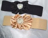 Silk Flower cinch belt Wide elastic stretch corset belt, black belt,Tan belt ,one size, 24 1inch to 30 inch