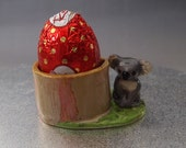 koala ceramic eggcup figurine hand crafted egg cup easter Anita Reay AnitaReayArt figurine easter bear