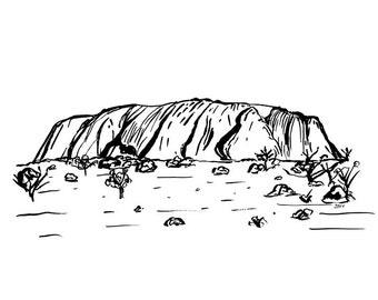 Uluru A4 Art Print, Ayers Rock Art Print, Alice Springs, Northern Territory, Australia