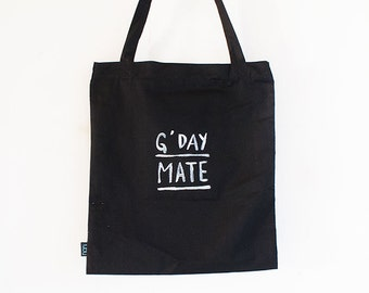 G'Day Mate Hand-painted Black Tote Bag with Zipper and Phone Pocket