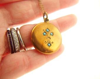 Turquoise Locket - Fleur De Lys - Gold Filled - Antique