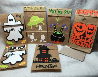 Halloween Lunch Bag Ghost Haunted House MartianMallow Witch Gift Bags