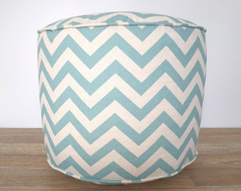 Round chevron pouf for nursery decor, light blue and beige floor poof, geometric pouf ottoman dorm room, round floor pillow