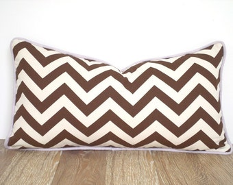 Brown lumbar cover 21x11 for dorm room, chevron pillow with piping, geometric cushion case, brown and lavender pillow cover nursery decor