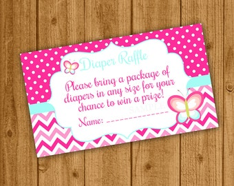 Butterfly Baby Shower, Butterfly Diaper Raffle, Girl Baby Shower, Instant Download