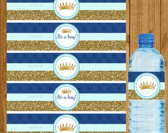 Prince Baby Shower, Prince Water Bottle Label, Boys Prince Baby Shower, Blue Gold Baby Shower, Boy Baby Shower, Instant Download