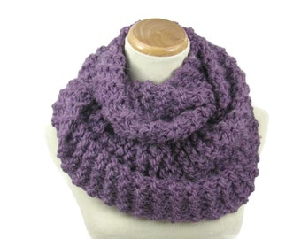 Sale Knit Scarf, Infinity Scarf, Knit Cowl, Snood, Hand Knit Scarf, Gift For Her, Fashion Accessory, Women Accessory, Purple Scarf Fiber Art