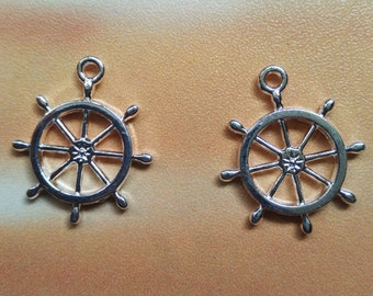 10 pcs Rudder Charms Helm Charms - 27 x 23mm ,Metal Charms, Antique Silver, Alloy Charms, Metal Pendants