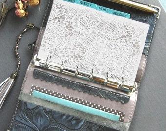 planner binder, gray rose, rose diary, leather planner, locked journal, floral planner, pocket size refills, rose planner, handstitched