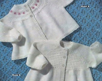 BABY KNITTING Pattern - 2 Matinee Jackets/Coats to fit 3-6 months -  20 inch chest