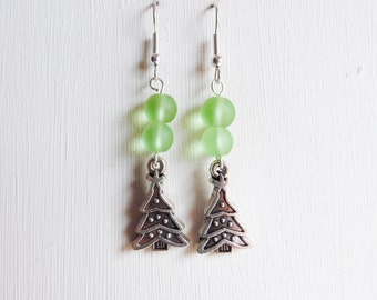 On Sale Double Green Czech Glass Bead French Hook Earrings with Christmas Tree Charm, Christmas Jewellery Novelty Earrings Christmas in July