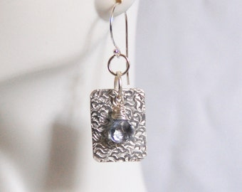 Textured Sterling silver Dangle Drop Earrings With Blue mystic Quartz- For Her- Gift Ideas-Handmade earrings