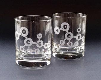 Ethanol Molecule Lowball Glasses
