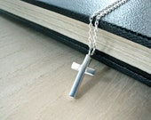 Tiny cross necklace sterling silver christian jewelry - One of a kind handmade jewelry for her - small simple cross pendant
