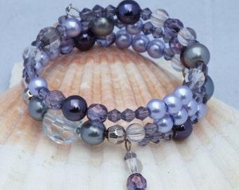 Lilac purple amethyst memory wire bracelet